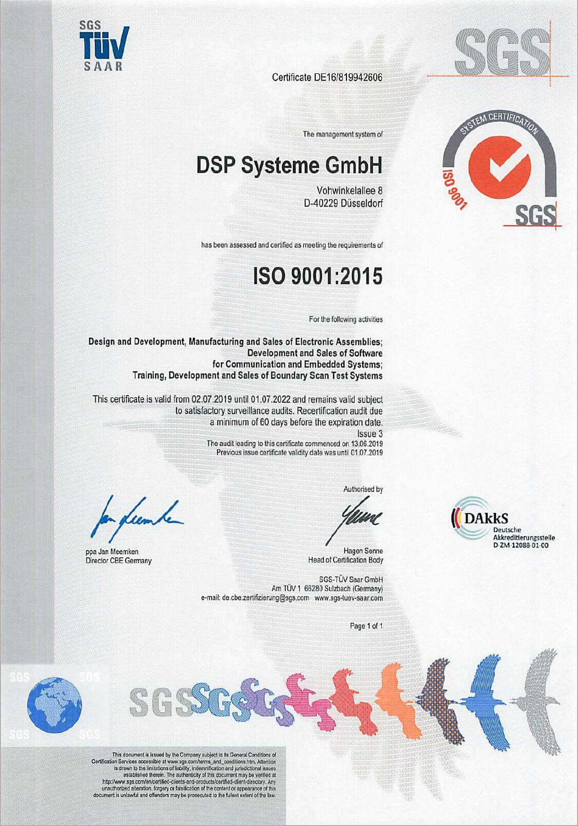 Certification per ISO9001-2015 for A.R. Bayer DSP Systeme GmbH